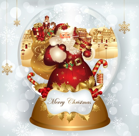 snowglobe: Christmas banner with Santa Claus