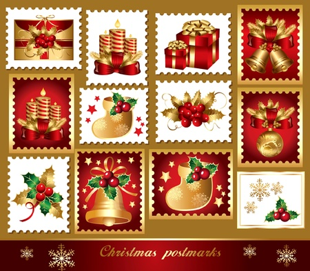 Christmas set of postmarks: traditional christmas elements Vector