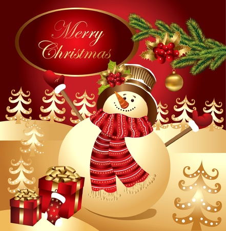 card with fun snowman