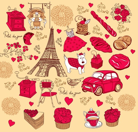Collection symbols of Paris. Hand drawing. Stock Vector - 9868812