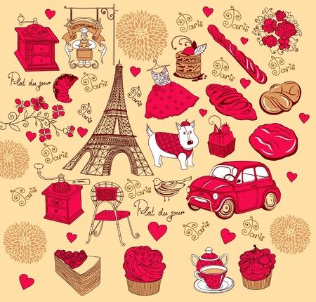 Símbolos de la colección de París. Mano de dibujo. Ilustración de vector