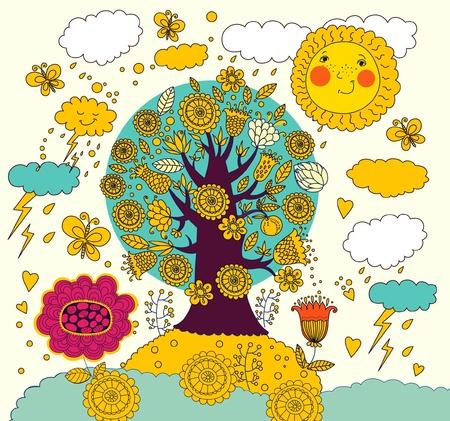 Cartoon illustration with tree Stock Vector - 9821456