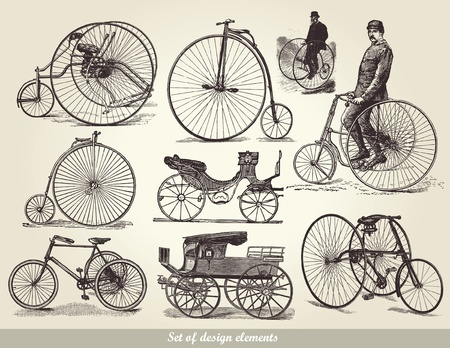 set of old bicycles