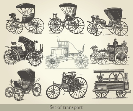 set of old cars