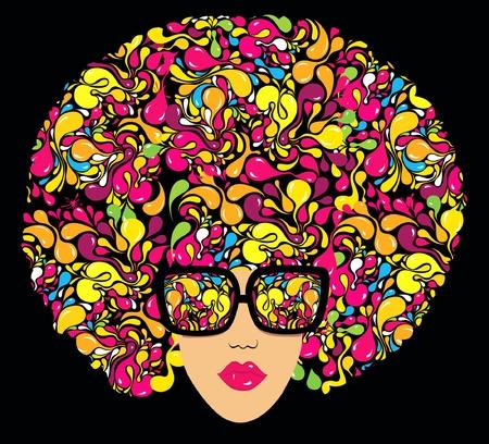 Bright multi-coloured fashion illustration. Print for T-shirt  Ilustração