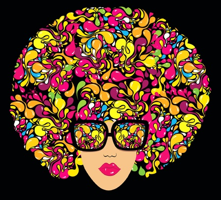 Bright multi-coloured fashion illustration. Print for T-shirt  Illustration