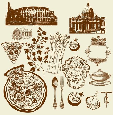 pizza chef: Set of Italian symbols