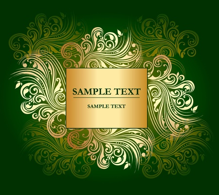 classical style: gold curly pattern with place for text  Illustration