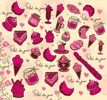 french bakery: Symbols of Paris. Culinary pattern. Hand drawing