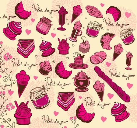 Symbols of Paris. Culinary pattern. Hand drawing Stock Vector - 9821495