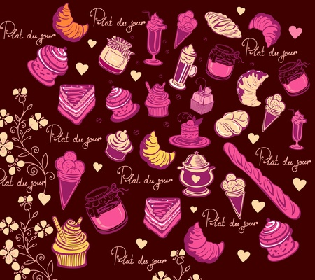 Symbols of Paris. Culinary pattern. Hand drawing Vector