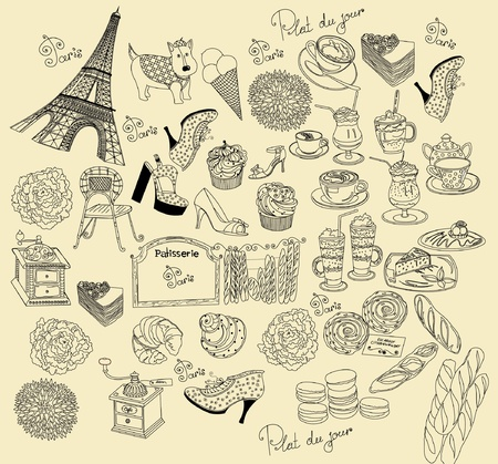 bistro: Collection symbols of Paris