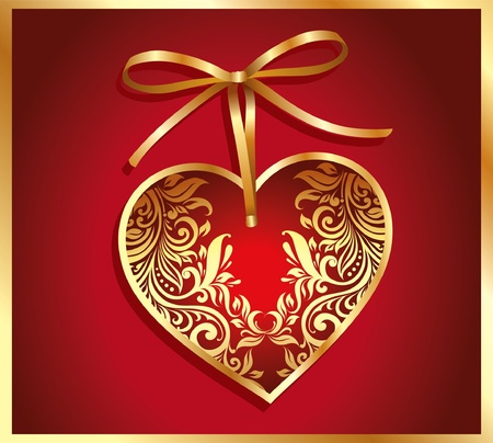 Holiday card with gold ornamental heart and bow. Valentine day Vector