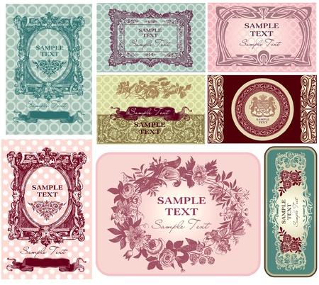 stile liberty: Etichette di pastelli e biglietti da visita