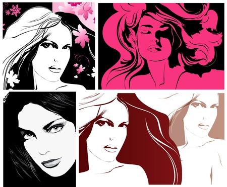 Woman's faces for fashion design Stock Vector - 9821438
