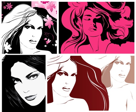 Womans faces for fashion design Vector