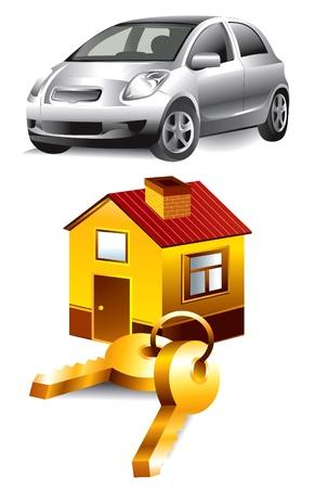 row of houses: autom�vil y el hogar Vectores