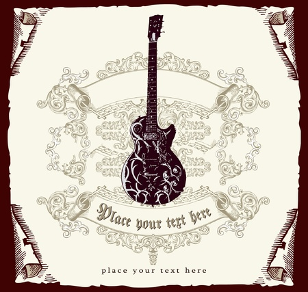 resonancia: Tarjeta retro con guitarra