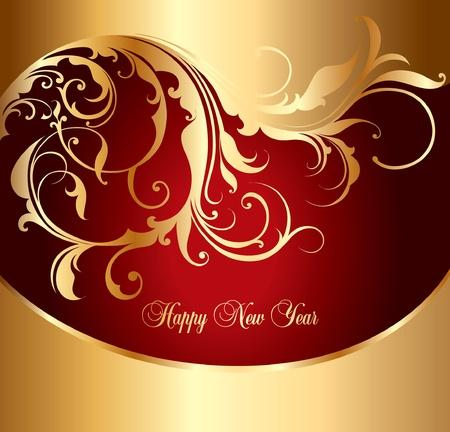new yea: tarjeta navide�a oro con adorno de rizado y lugar para el texto
