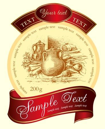 wijn en spijzen: Retro design van label