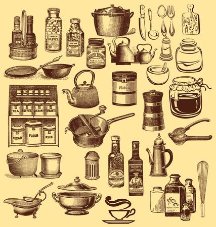 cuisine: Jeu de cru des accessoires de cuisine et vaisselle