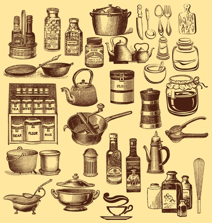 Vintage set of kitchen accessories and ware Stock Vector - 9821655