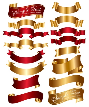 Collection of red and gold ribbons Vector