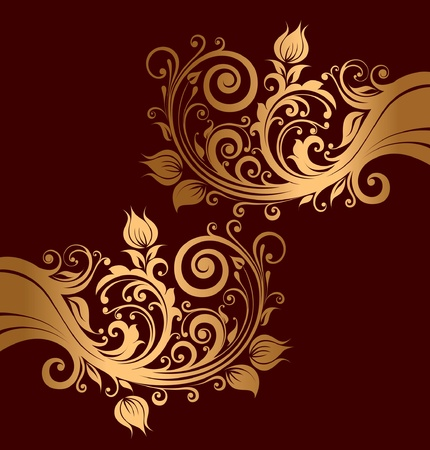 Beautiful ornaments with flowers and curls Vector