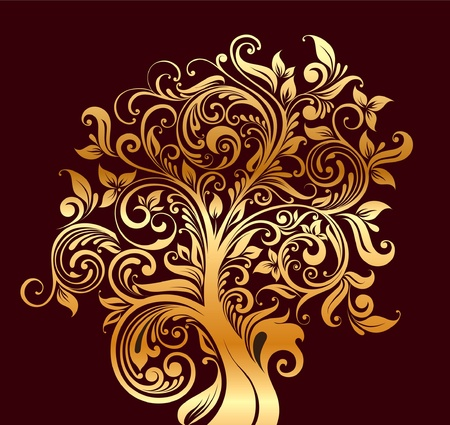 twisted: Beautiful gold tree with flowers and curls Illustration