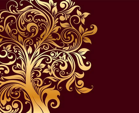 harmless: Beautiful gold tree with flowers and curls Illustration