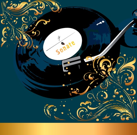 gold record: musical illustration with plate Illustration