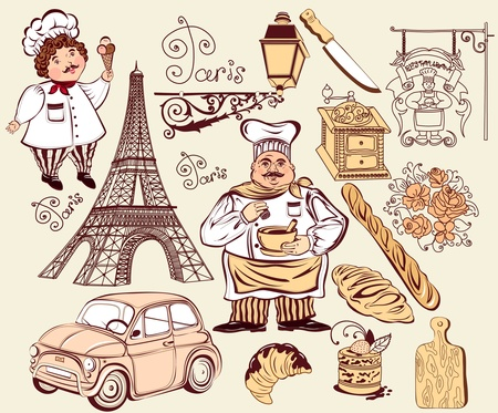 bistro: Collection symbols of Paris. Hand drawing  Illustration