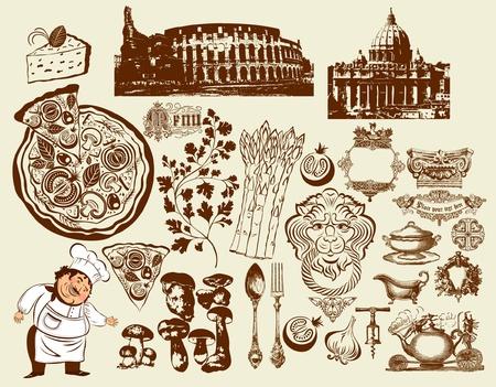 restaurante italiano: Conjunto de s�mbolos italianos