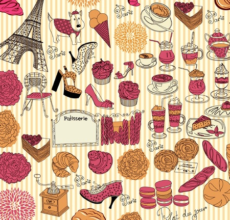french roll: Collection symbols of Paris