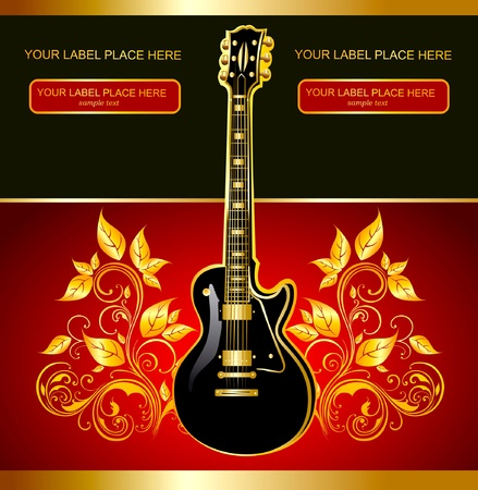 guitar and gold ornaments Vector