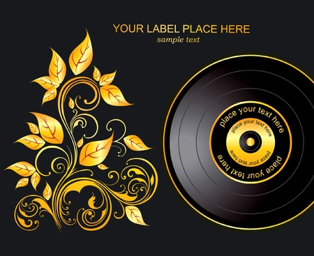 gold record: plate and gold ornament Illustration