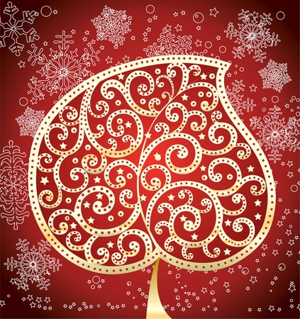 Beautiful gold christmas tree Vector