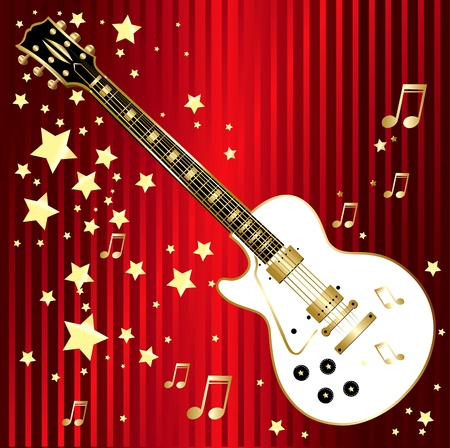 Illustration with guitar Vector