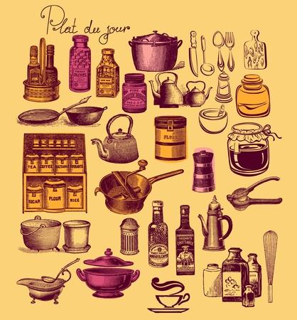 Vintage Keuken Accessoires.Vintage Keuken Vectoren Illustraties En Clipart 123rf
