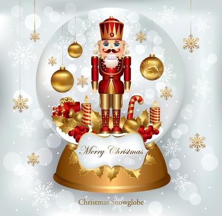 Christmas snowglobe with Nutcracker  Vector