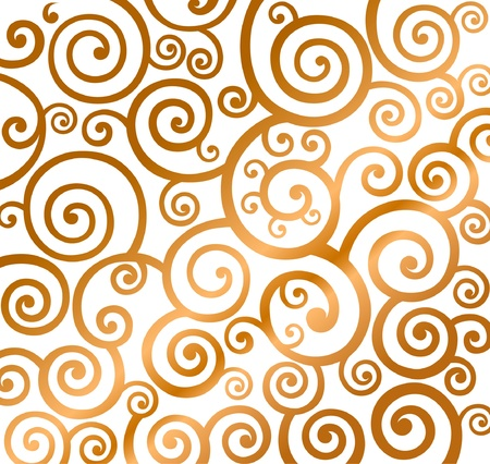 Beautiful gold christmas curly pattern Vector
