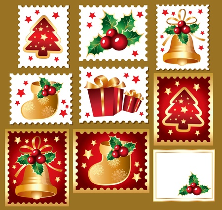 jingle bells: Christmas set of postmarks: traditional christmas elements