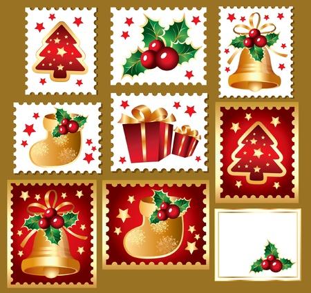 envelope decoration: Conjunto de Navidad de marcas postales: elementos tradicionales de Navidad