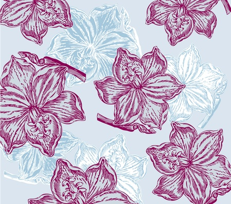 Classical wall-paper with a flower pattern. Fragment Vector