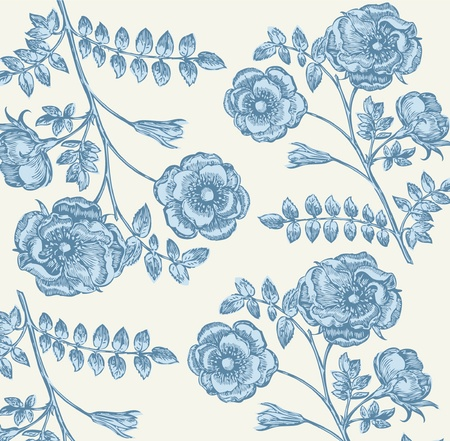 vintage roses: Classical wall-paper with a flower pattern. Fragment