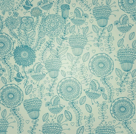 upholstery: classical wall-paper with a flower pattern. Illustration