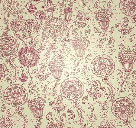 french style: classical wall-paper with a flower pattern. Illustration