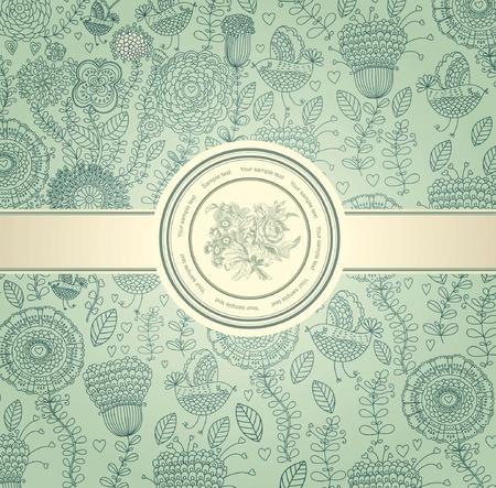 french label: cl�sica papel de pared con un patr�n de flores Vectores