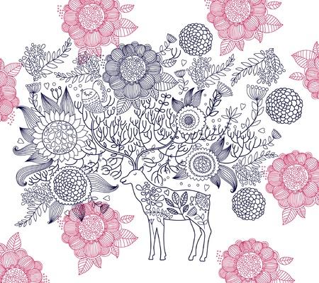 Beautiful decorative deer Vector