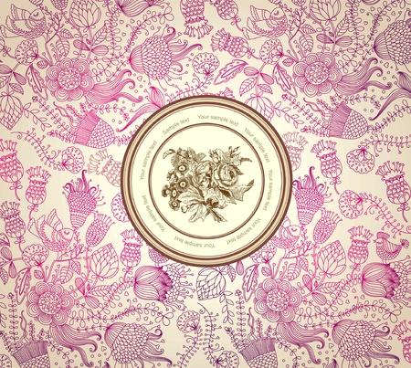 french label:  papel cl�sico con un patr�n de flores Vectores